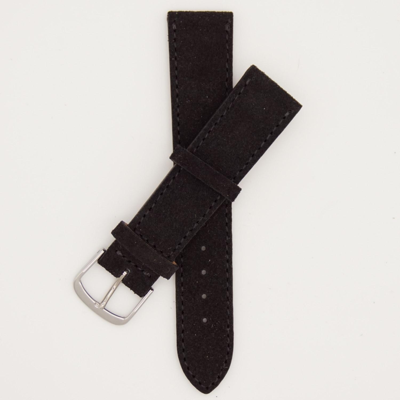zwart-velours-strap-leren-horlogebandje