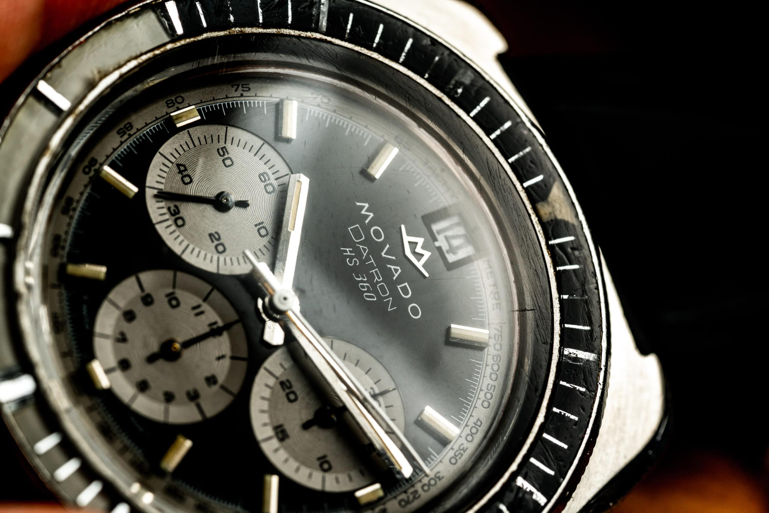 Vintage Movado Datron hs360 zenith el primero watch macro