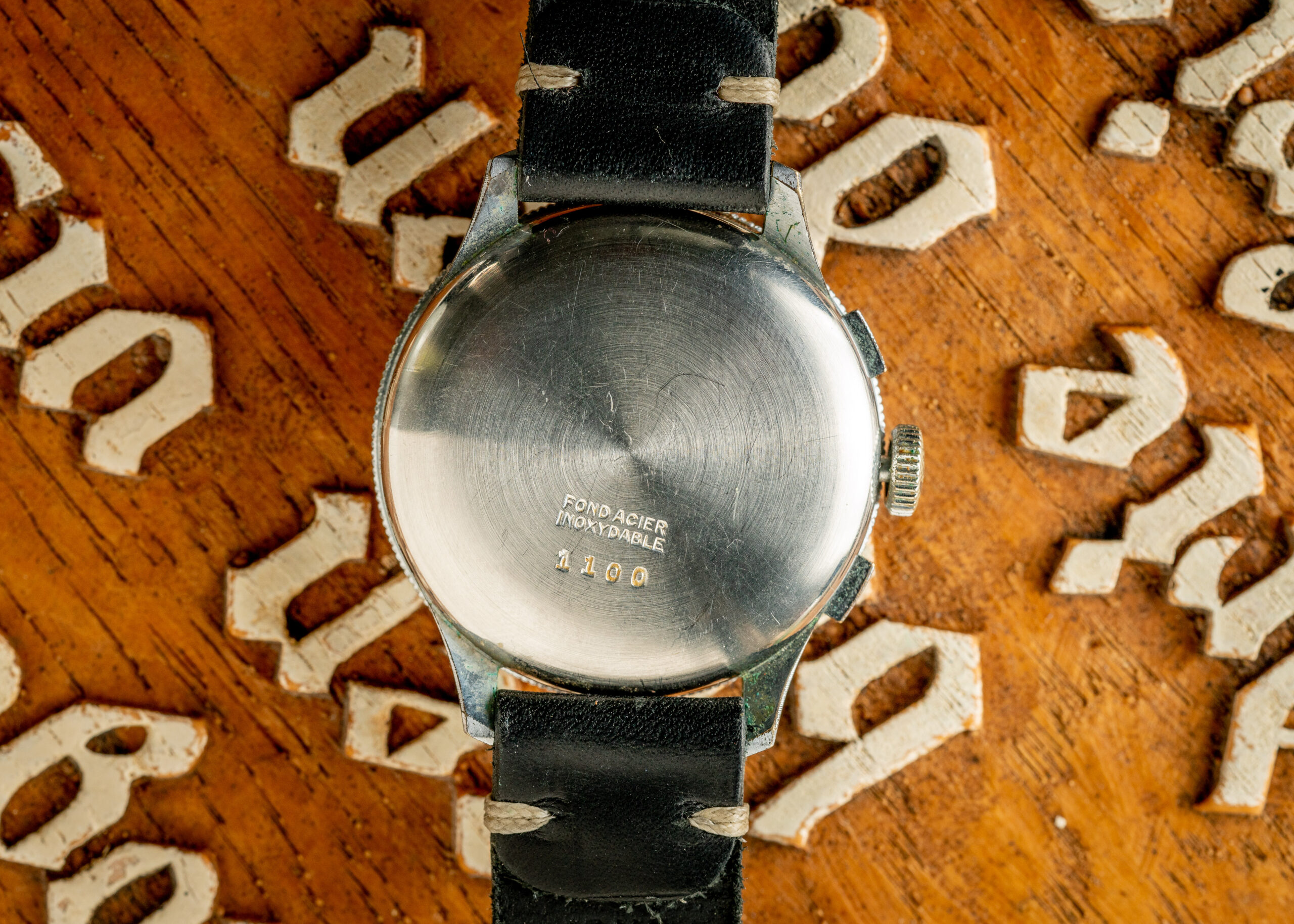 Vintage Butex Chronograph Triple Calendar watch caseback