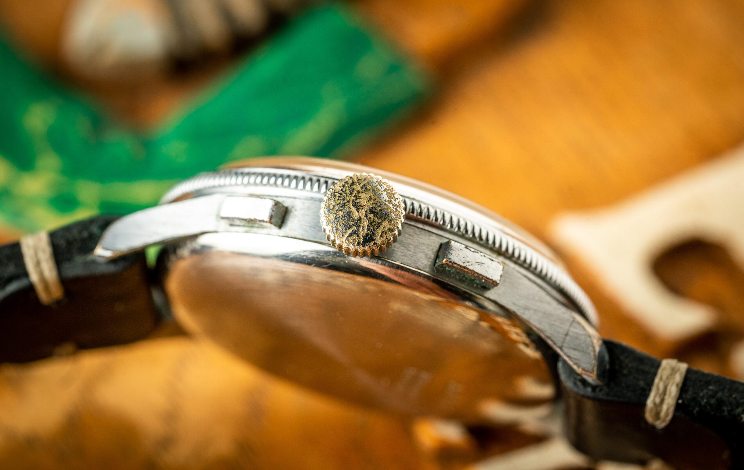 Vintage Butex Chronograph Triple Calendar watch crown
