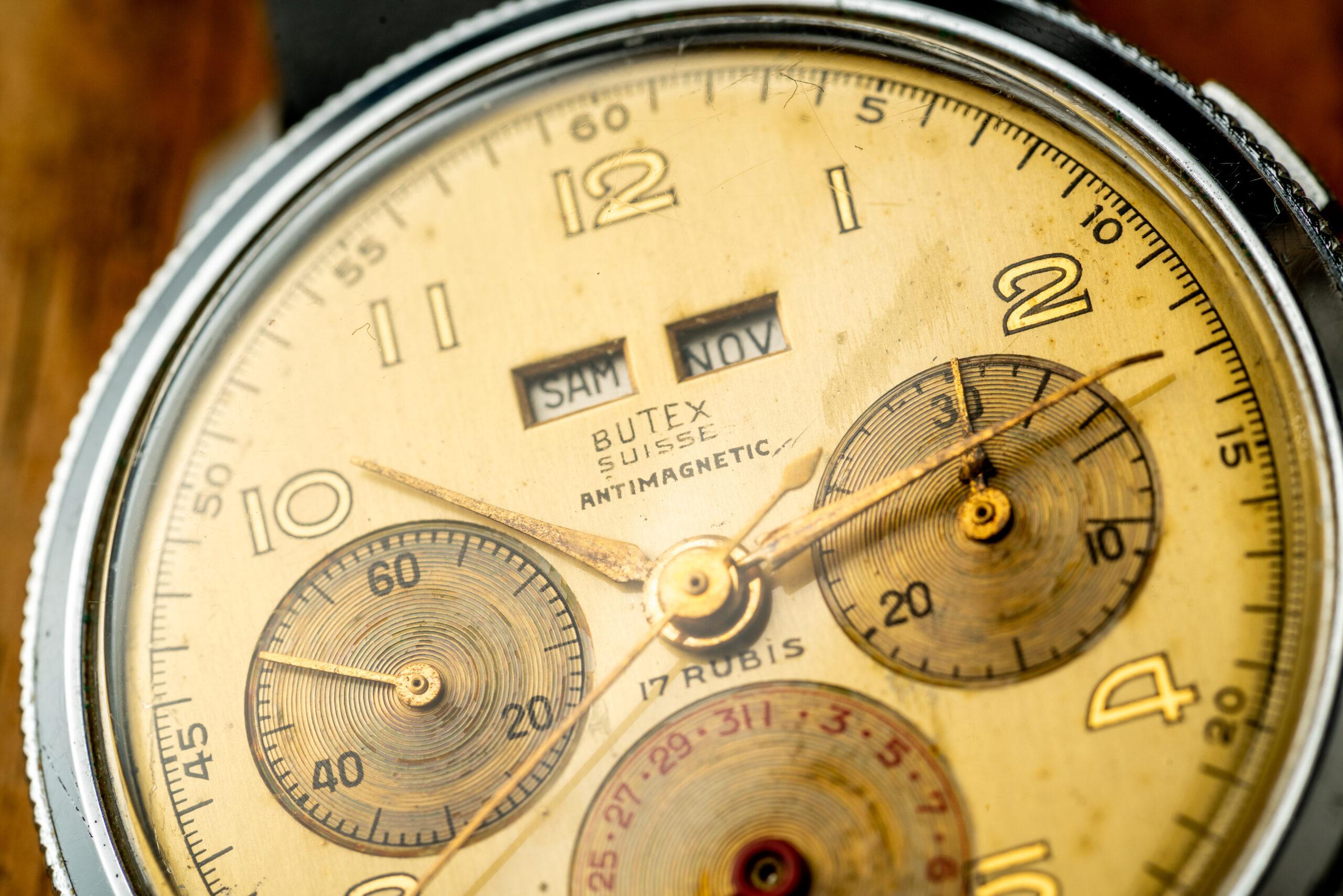 Vintage Butex Chronograph Triple Calendar watch macro