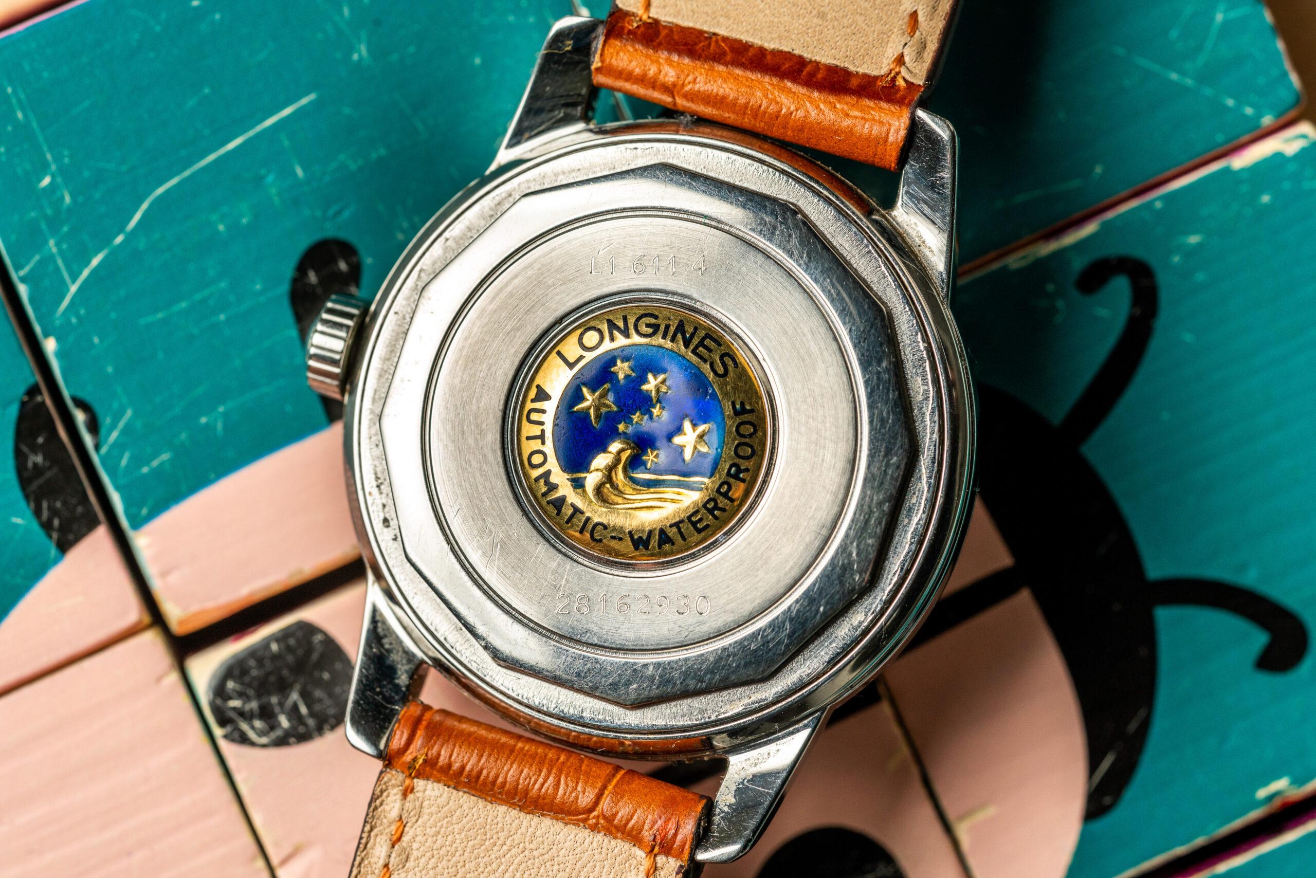 longines conquest heritage watch caseback emblem