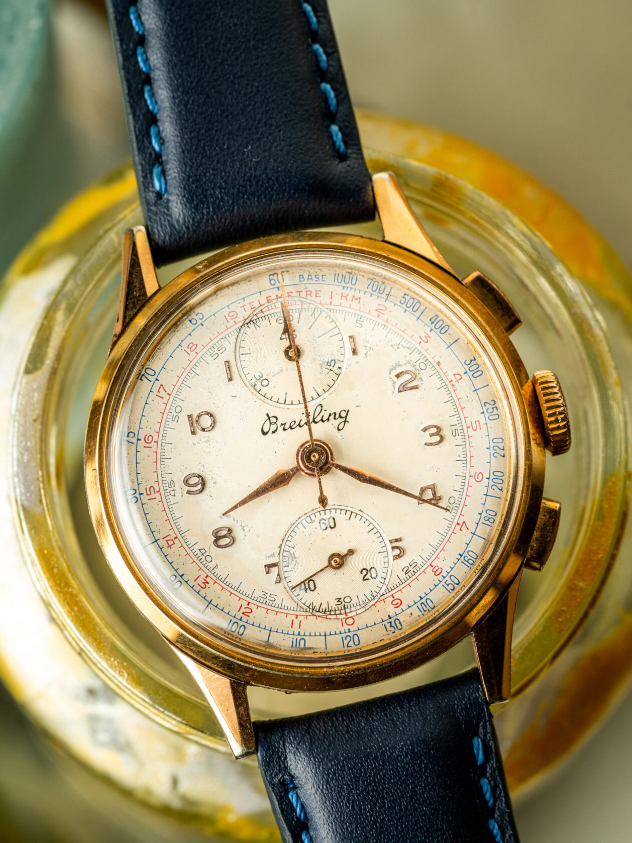 vintage breitling chronograph gold plated