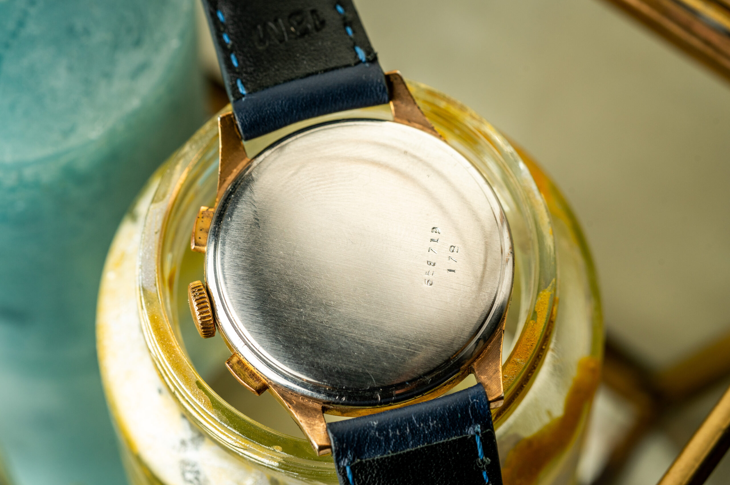 vintage breitling chronograph gold plated steel caseback