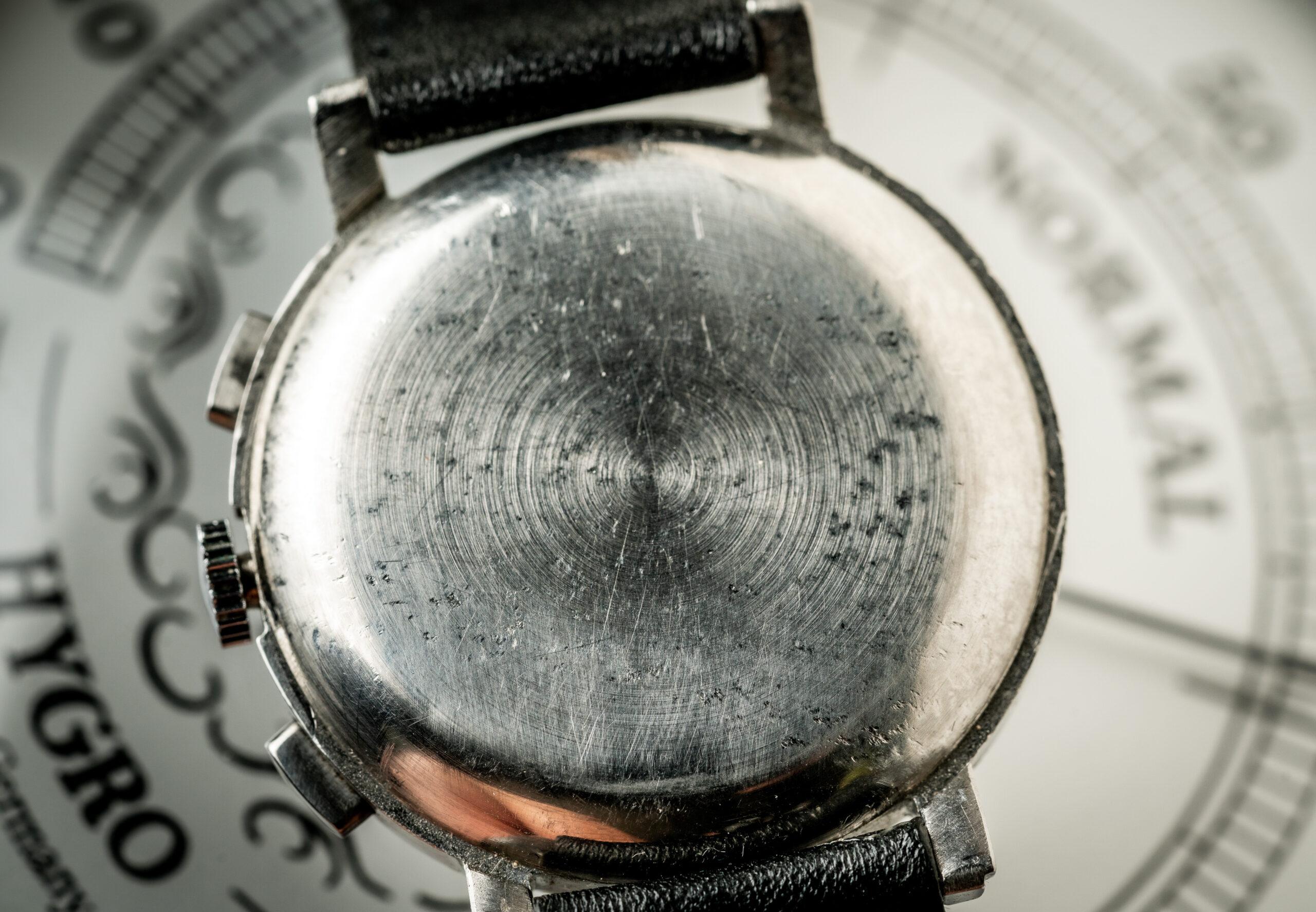 Movado chronograaf 19023 horloge jaren 40 caseback