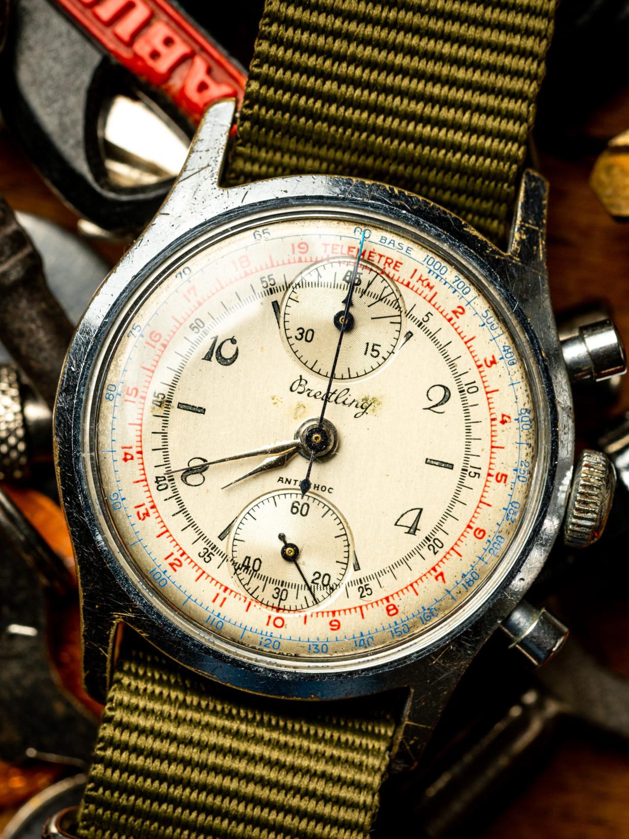 vintage breitling chronograaf verchroomd tachymeter horloge