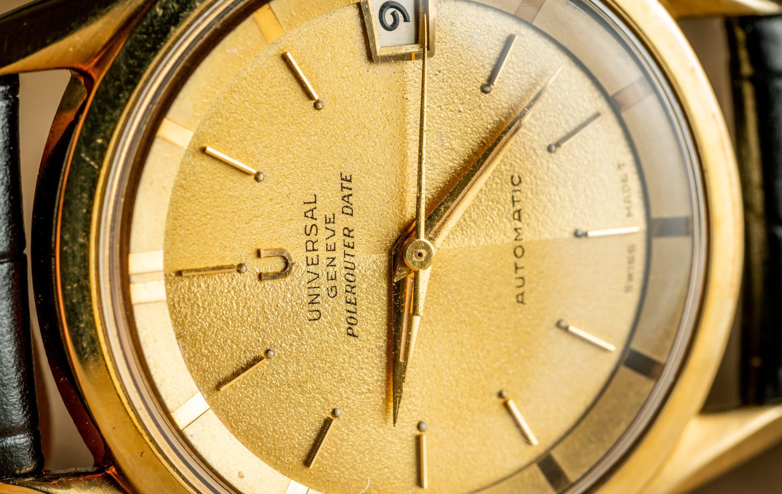 vintage universal geneve polerouter date watch macro
